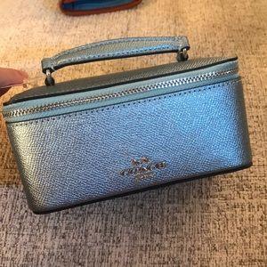 Coach metallic mini blue vanity case